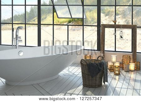 Romantic modern monochrome white bathroom interior with a freestanding boat-shaped tub and burning candles below a large view window overlooking a beach. 3d Rendering.