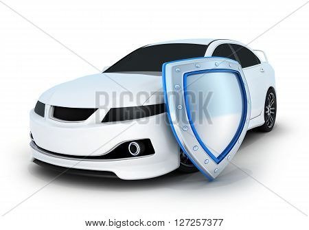Sport car white and shield (done in 3d)