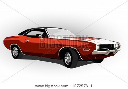 red classic muscle car vector illustration retro hot rod