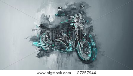 Single classic motorcycle bike in gray paint strokes and flat dark background with rough dripping painterly effect. (3d Rendering).