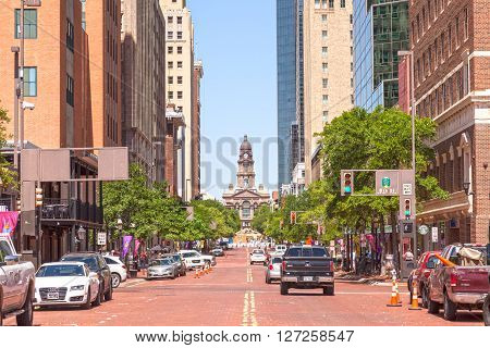 FORT WORTH TX USA - APR 6: Street in Fort Worth downtown district. April 6 2016 in Fort Worth Texas USA