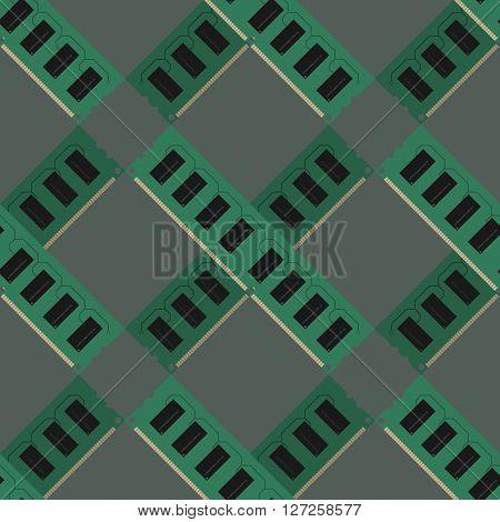 RAM modules pattern vector illustration cross gray green