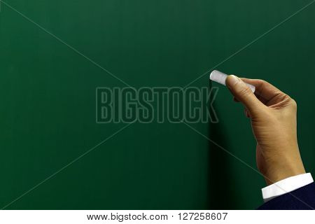 Hand writing with a chalk on blackboard