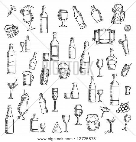 Drinks sketch icon with cocktails, wine, beer, vodka, champagne, martini, whisky and sake, barrel of ale, juice, soft beverages and milk shakes with fruit and cheese snacks. Use as cocktail party or food and beverages theme design
