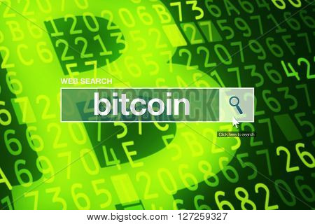 Web search bar glossary term - bitcoin definition in internet glossary.
