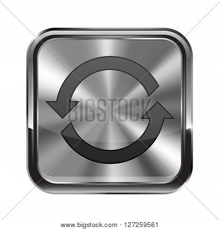 Metal button. With chrome frame. Refresh icon. Vector illustration isolated on white background