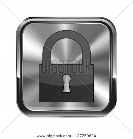 Metal button. With chrome frame. Closed icon. Vector illustration isolated on white background
