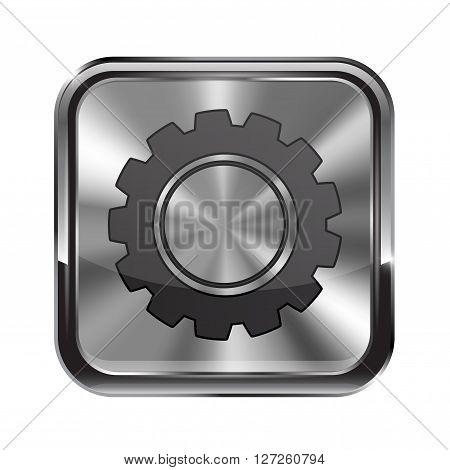 Metal button. With chrome frame. Settings icon. Vector illustration isolated on white background