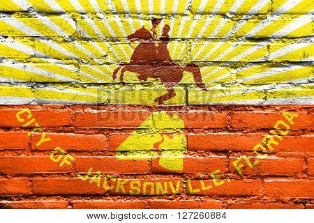Flag Of Jacksonville, Florida, Painted On Brick Wall