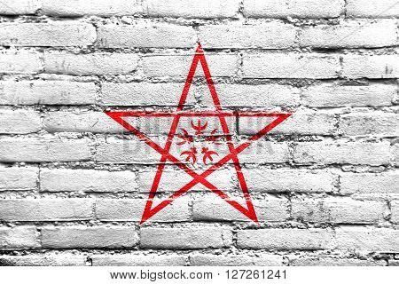 Flag Of Nagasaki, Japan, Painted On Brick Wall