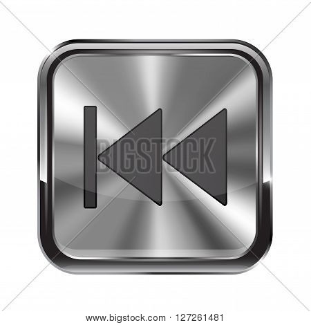 Metal button. With chrome frame. Rewind icon. Vector illustration isolated on white background