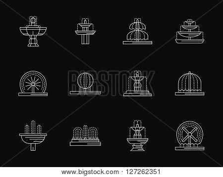 Elements and object for landscape projects. Fountains architecture, decorative fountains for park, city, gardens. White flat line vector icons on black. Elements for web design, business, mobile app.