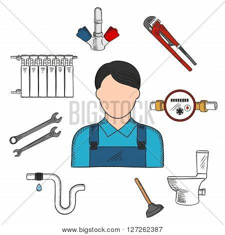 Colored sketch of plumber with hand tools and equipments such as: adjustable wrench, spanners, water meter, plunger, toilet, water faucet, pipe with leak and heating radiator. Use as service industry professions symbol or plumber tools design