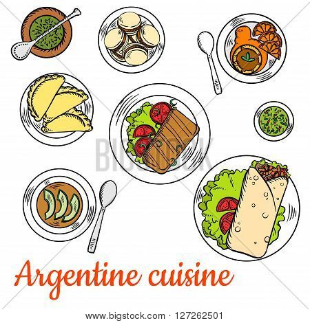 Argentine fast food steak wraps, served with dishes of national cuisine such as asado short ribs, empanadas, chimichurri sauce, vegetarian cream soup with avocado, alfajor cookies and dulce de leche dessert with fresh oranges and mate tea. Colorful sketch
