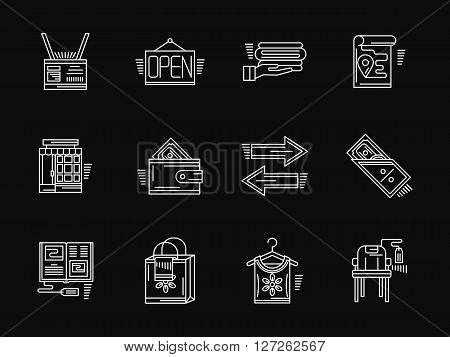 Signs and symbols for web store. Online shopping. Commission shop. Collection of white flat line style vector icons on black. Elements for web design, business, mobile app.