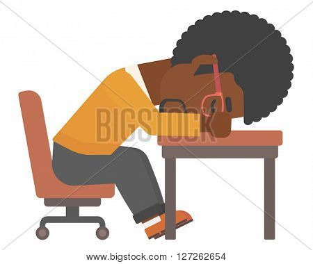 Man sleeping on table.