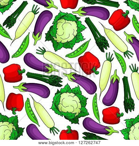 Wholesome organic fresh vegetables seamless pattern for agriculture harvest or vegetarian food design with glossy violet eggplants, sweet peas, red bell peppers, bunches of asparagus, ripe cauliflowers and daikon radishes on white background