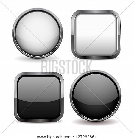 Glass buttons. Set of black and white shiny icons. Vector illustration isolated on white background