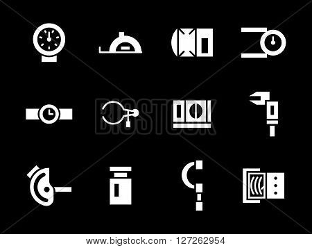 Mechanical and electrical measuring instruments. Measurement and calibration tools. Collection of simple white glyph style vector icons on black. Elements for web design, business, mobile app.