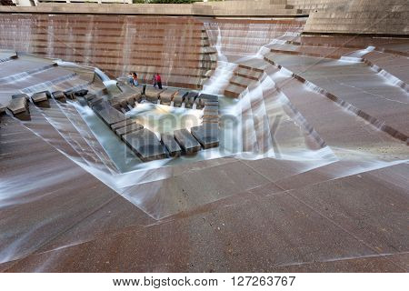 FORT WORTH TX USA - APR 6: The Water Gardens in the city of Fort Worth. April 6 2016 in Fort Worth Texas USA