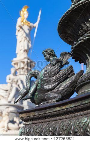 Cupid On A Swan, Bronze Statue In Vienna