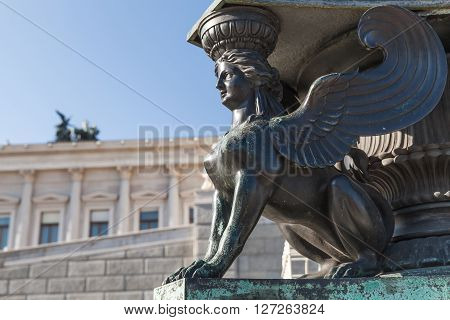 Statue Of Sphinx. Decoration Of Old Street Lamp