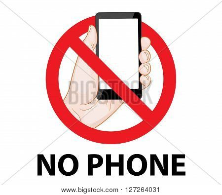 don't use mobile phone signs vector illustration