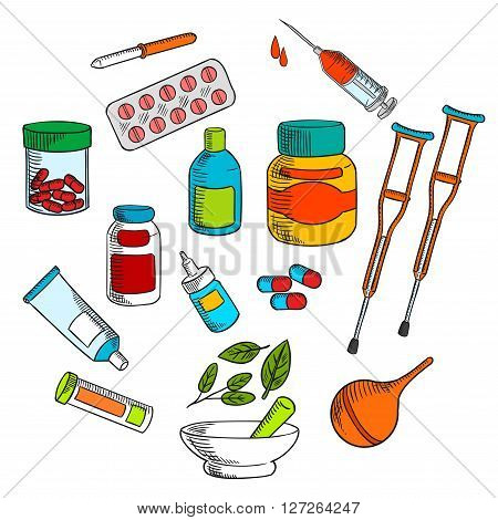 Alternative herbal and conventional medicine drugs with colorful symbols of medicine bottles, pills, drops, syringe, capsules, marble mortar and pestle with green herbs, crutches, pipette, enema and ointment tube. Sketch style