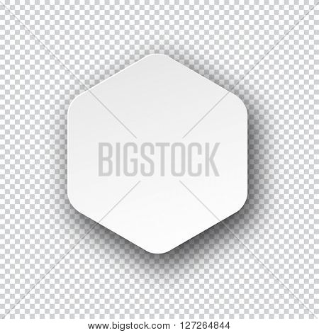 Vector illustration of white paper hexagonal note with shadow. Eps10.