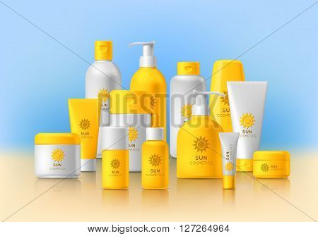 Cosmetic brand template. Vector packaging. Oil, lotion, shampoo. Realistic bottle mock up set. Isolated pack on the table.