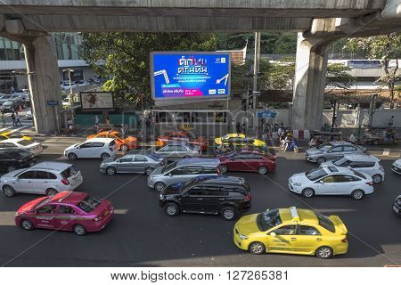 BANGKOK THAILAND - APR 10 : traffic jam in rush hour at Chaloem Phao junction near siam square on april 10 2016 thailand.