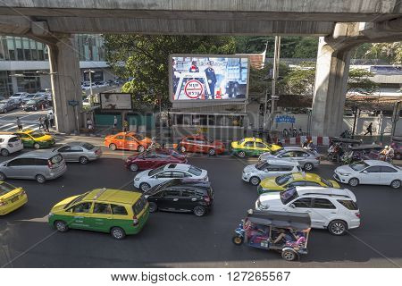 BANGKOK THAILAND - APR 10 : scene of traffic jam at Chaloem phao junction near siam square in evening time on april 10 2016 thailand.