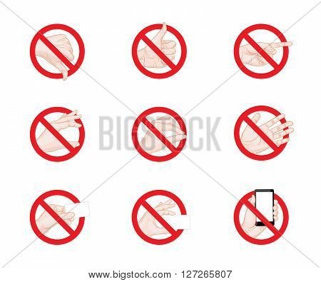 Forbidding Signs business hand gestures icons vector illustration