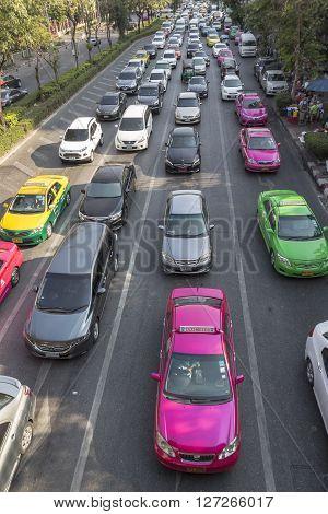 BANGKOK THAILAND - APR 10 : traffic jam at Henri Dunant road near Chaloem phao junction on april 10 2016 thailand.