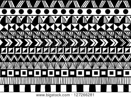 black and white horizontal seamless pattern with simple ethnic ornament