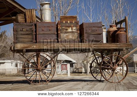 Laws, California USA - February 24 2016: A vintage cart on a railway platform at the ghost town of Laws in California