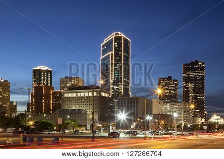 Downtown of Fort Worth illuminated at night. Texas United States of America