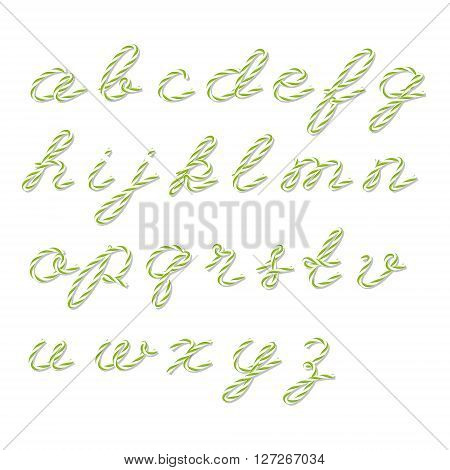 Alphabet in yellow green bakers twine style on white background