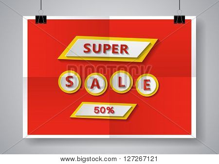 Super Sale at twice folded poster.  Vector illustration.