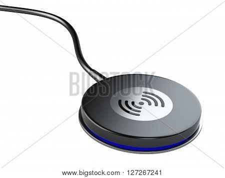 Wireless charger station pad. 3D image isolated on white background