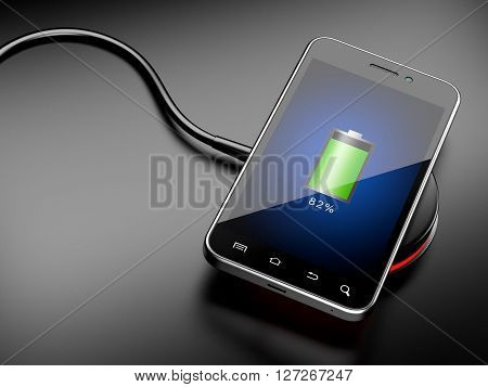 Wireless charging of smartphone. 3D image on a black background