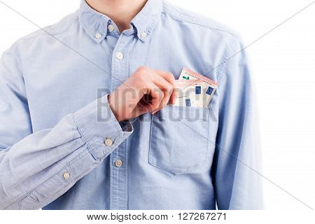 Man Take Money From Pocket Isolated