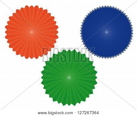 three geometric figures of of different colors