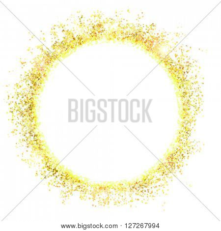 gold sparkles and flashes with a white circle