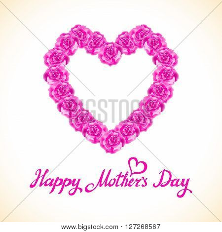 Pink Rose Mother Day Heart Made Of Purple Roses Isolated On White Background. Floral Heart Shape Vec