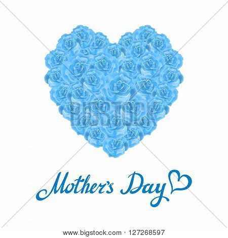 Mother Day Heart Made Of Blue Roses.  Bouquet Of Blue Roses Heart Isolated On White Background. Turq