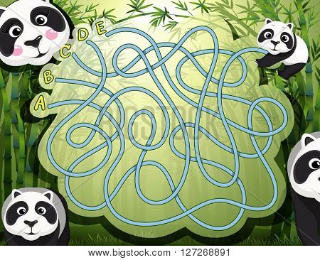 Maze game with panda and bamboo illustration