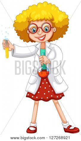 Scientist with test tubes illustration