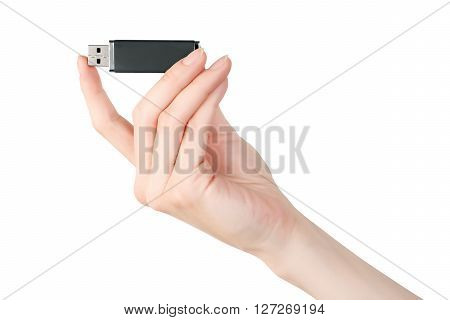 Woman hand holding usb flash memory card isolated on white with clipping path