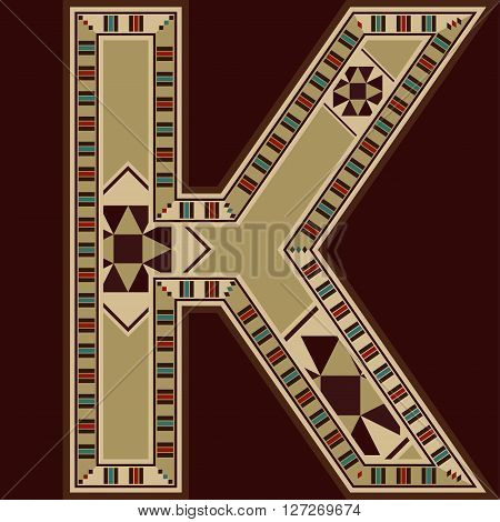 Oriental Wooden Mosaic Decorated Capital Letter K
